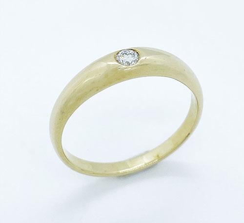 Anillo de compromiso en oro con diamante talla brillante de 0,08 quilates ref. 123-297