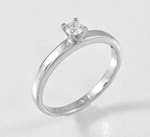 anillo de matrimonio en oro blanco con diamante