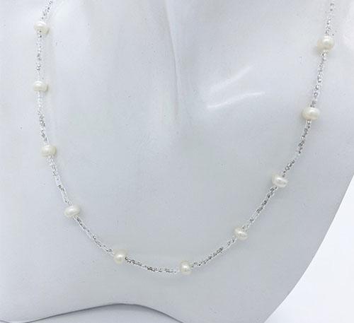 collar de plata y perlas naturales