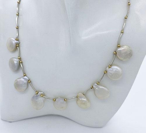 Collar de segmentos plata con perlas naturales de cultivo de agua dulce