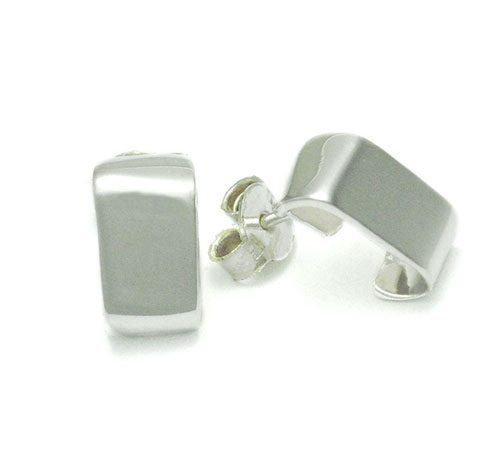 Aretes de plata ley 0,950 con peso 4. Diseño de semi candonga rectangular pequeña.