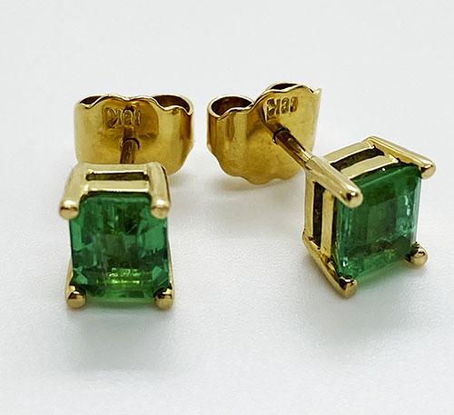 aretes de oro con esmeraldas colombianas