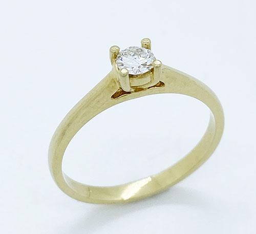 Anillo de compromiso en oro con diamante talla brillante de 0,20 quilates