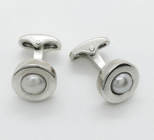 gemelos o mancornas en plata con perlas