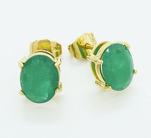 aretes de oro con esmeraldas