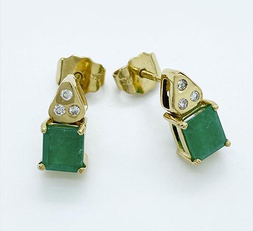 aretes pendientes de oro con esmeraldas colombianas
