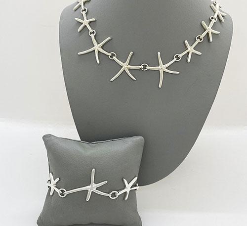 collar y pulsera de plata estrellas de mar