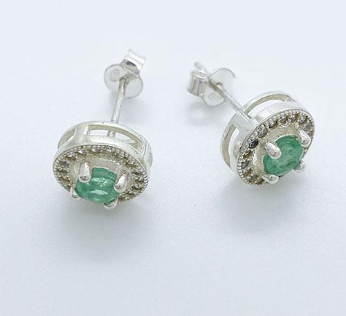 aretes de plata con esmeraldas