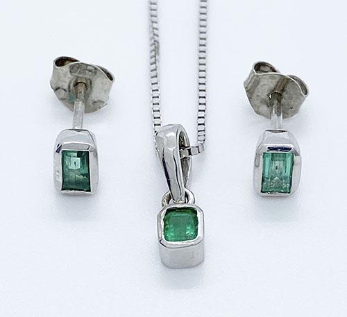 set de aretes y dije de plata con esmeraldas colombianas